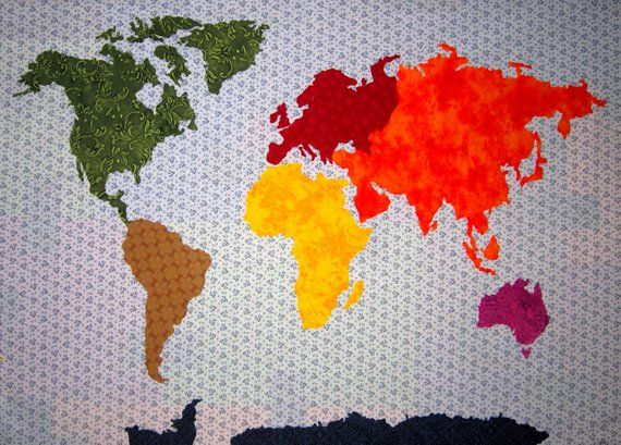 OUR WORLD Patchwork Map Quilt Pattern Full Sized Templates and Clear ...