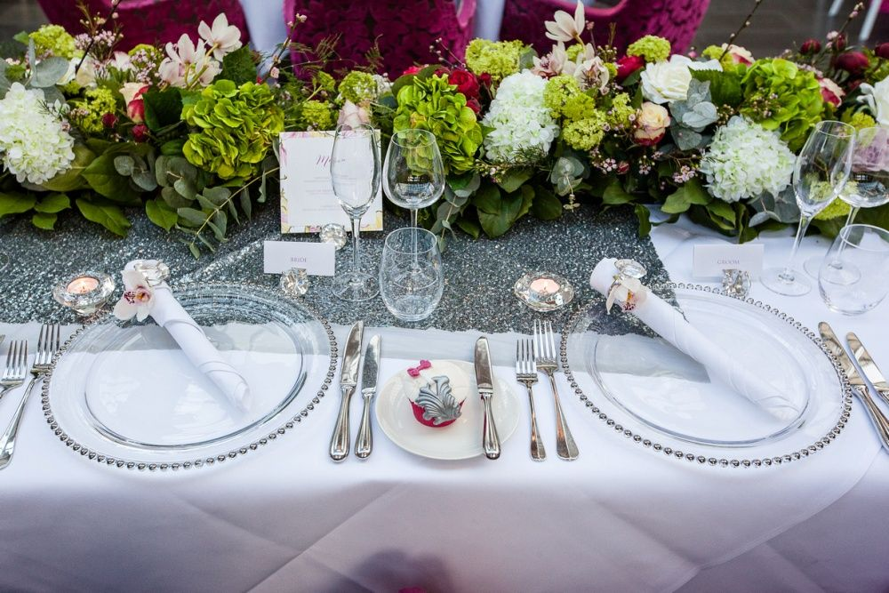Ava Event Styling Hire Flowers Sequin Topper Tablecloth Beaded Glass