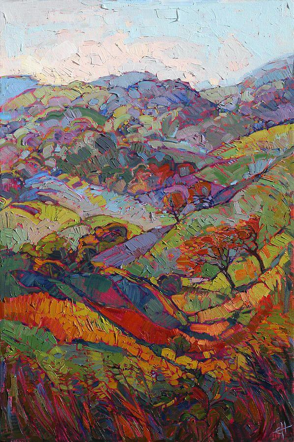 Hills Of Burgundy By Erin Hanson Landscape Paintings Modern Impressionism Landscape Art