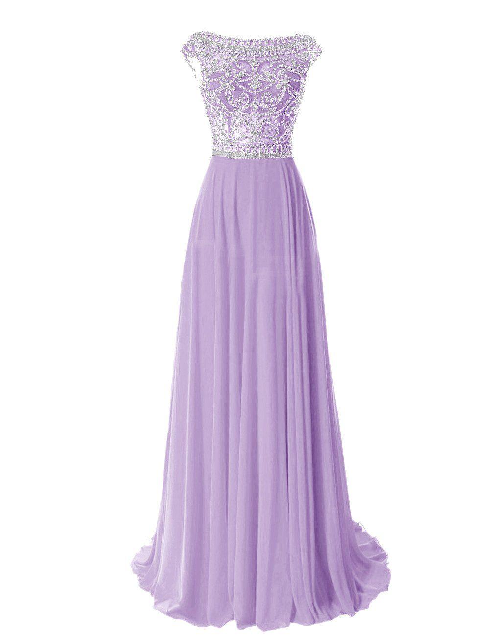 Tidetell Elegant Floor Length Bridesmaid Cap Sleeve Prom Evening ...