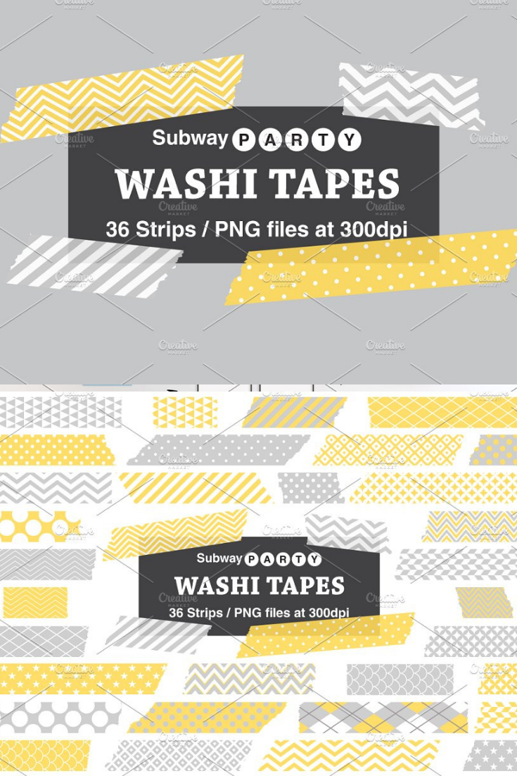 Gray Yellow Washi Tape Strips Washi Tape Washi Digital Photo Frame