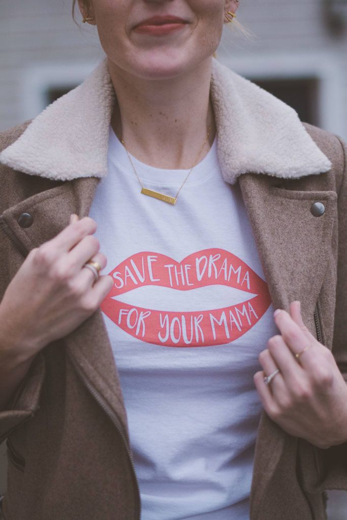 Leslie Musser wearing friends inspired Save the Drama for Your Mama graphic tee // one brass fox