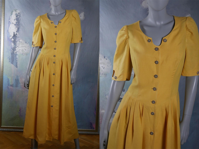 Yellow Western Prairie Dress Austrian Vintage Linen Blend W Flower Shaped Faux Antler Buttons Summer Cowboy Dress 10 Us Size 14 Uk Yellow Vintage Dress Vintage Clothes Women Dresses