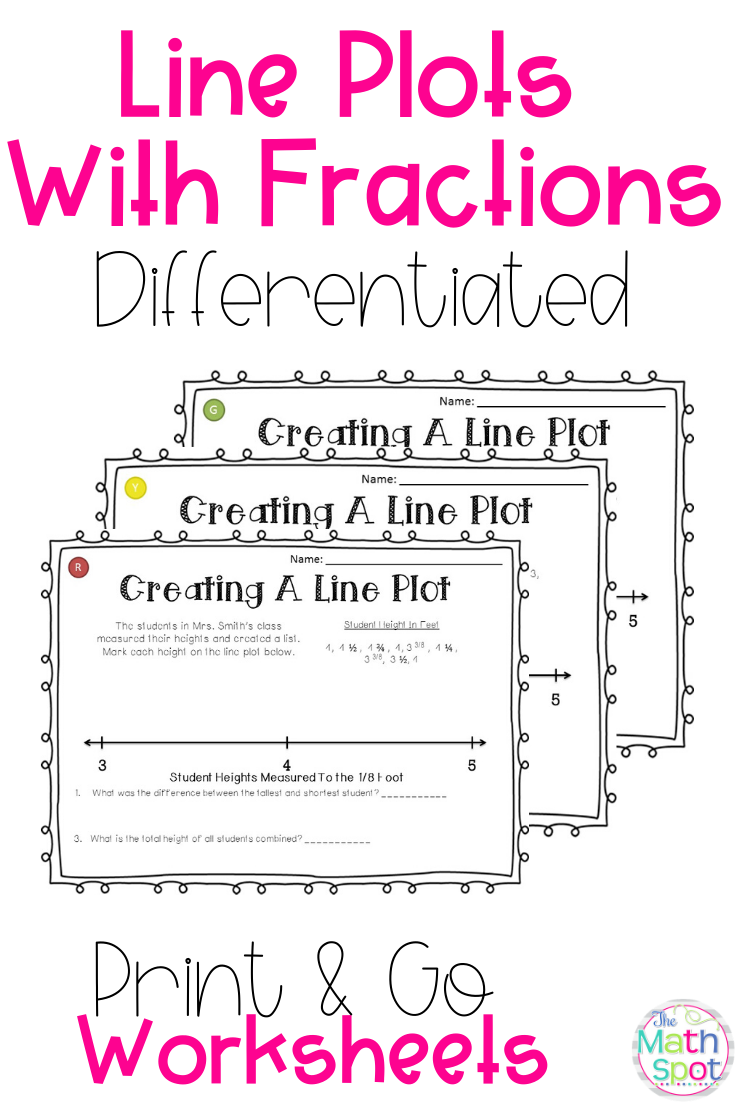 Line Plots with Fractions Worksheets for 4th and 5th grade students   Line  plot worksheets [ 1102 x 735 Pixel ]
