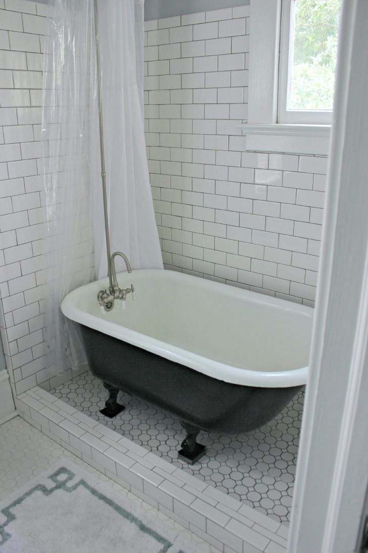 Clawfoot tub enclosed with glass on tile floor google for Clawfoot tubs with shower