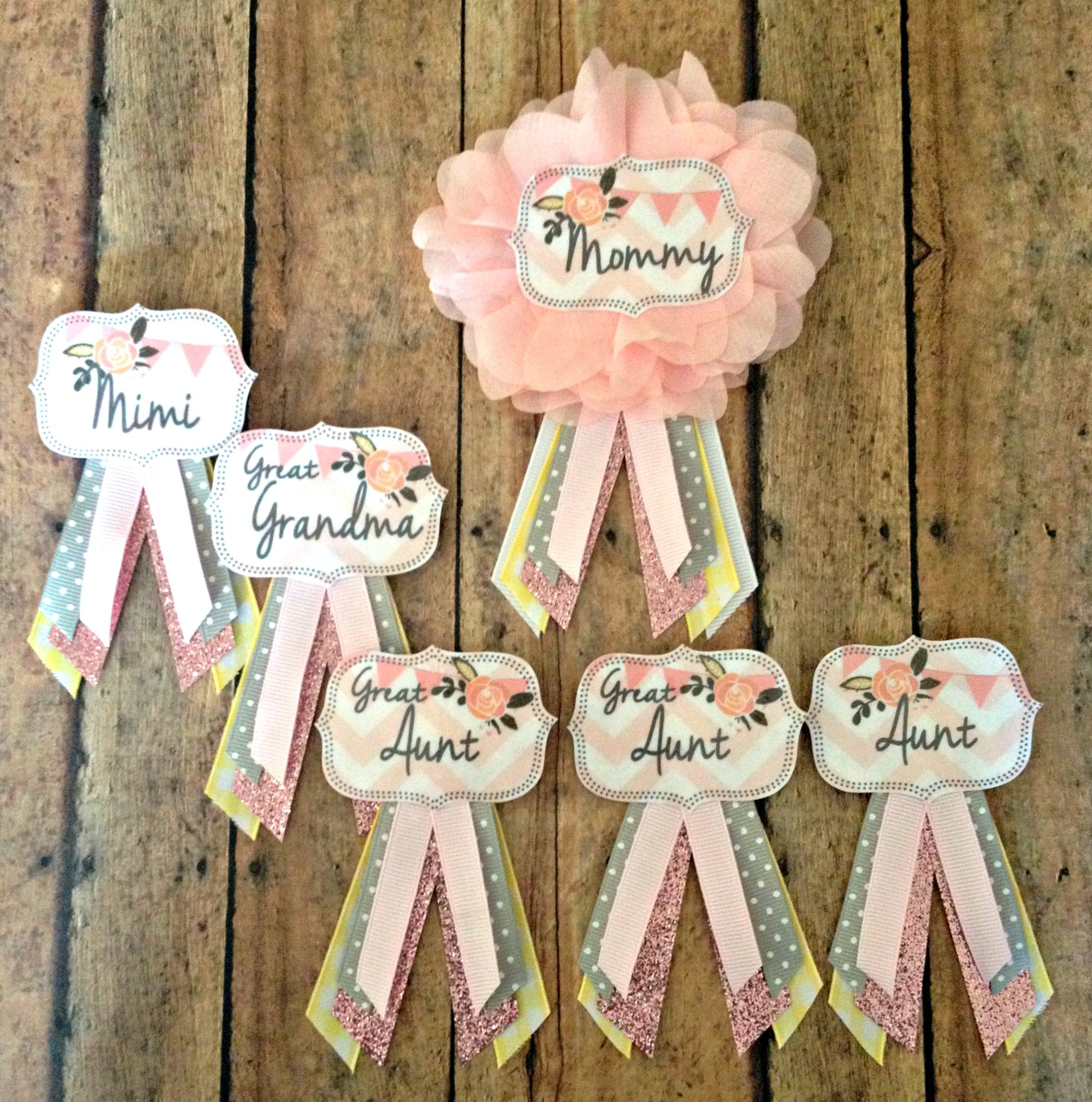Pale Pink Personalised Baby Shower Party Satin Ribbon Sash Pink Baby Pram