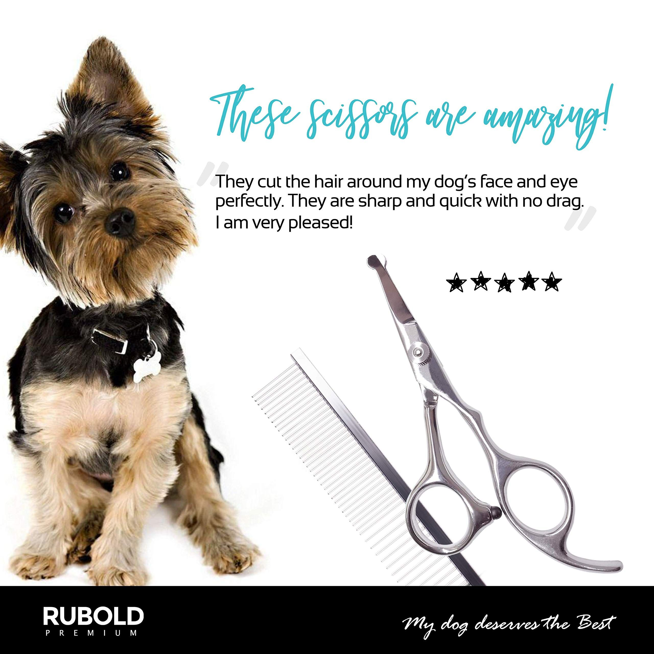 Rubold Professional Dog Grooming Scissors Set Stainless Steel Rounded Tip Sharp Durable Shears With Pet Groom Dog Grooming Scissors Dog Grooming Pet Grooming
