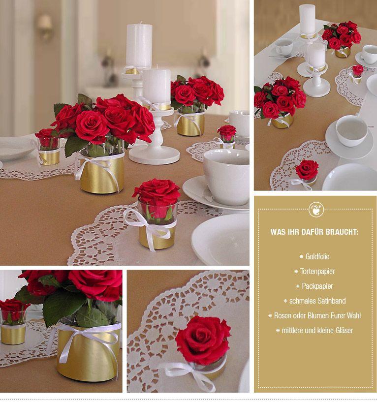 hochzeitsdeko mit roten rosen gold und spitze ganz. Black Bedroom Furniture Sets. Home Design Ideas