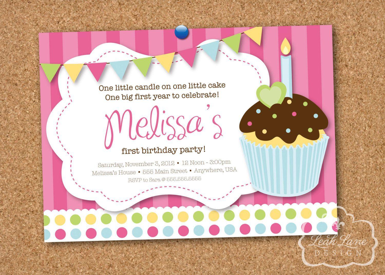 1st birthday cupcake invitations with photo | birthday invitations ...