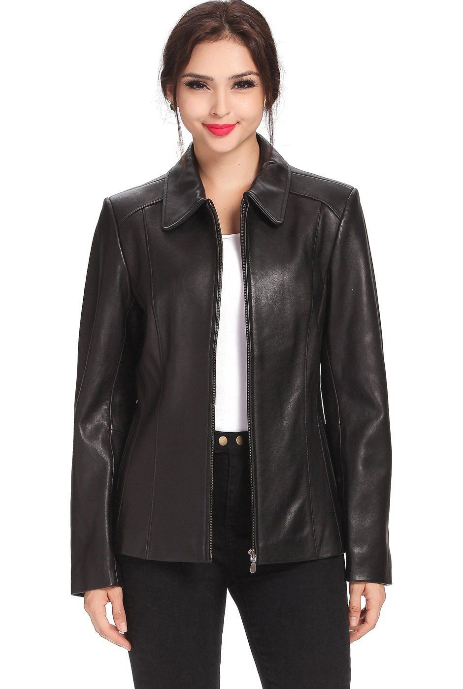 "BGSD Women's ""Miranda"" Zip Front New Zealand Lambskin"
