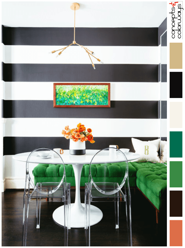 Black And White Dining Room With Emerald Green Accents, Black And White  Striped Walls,