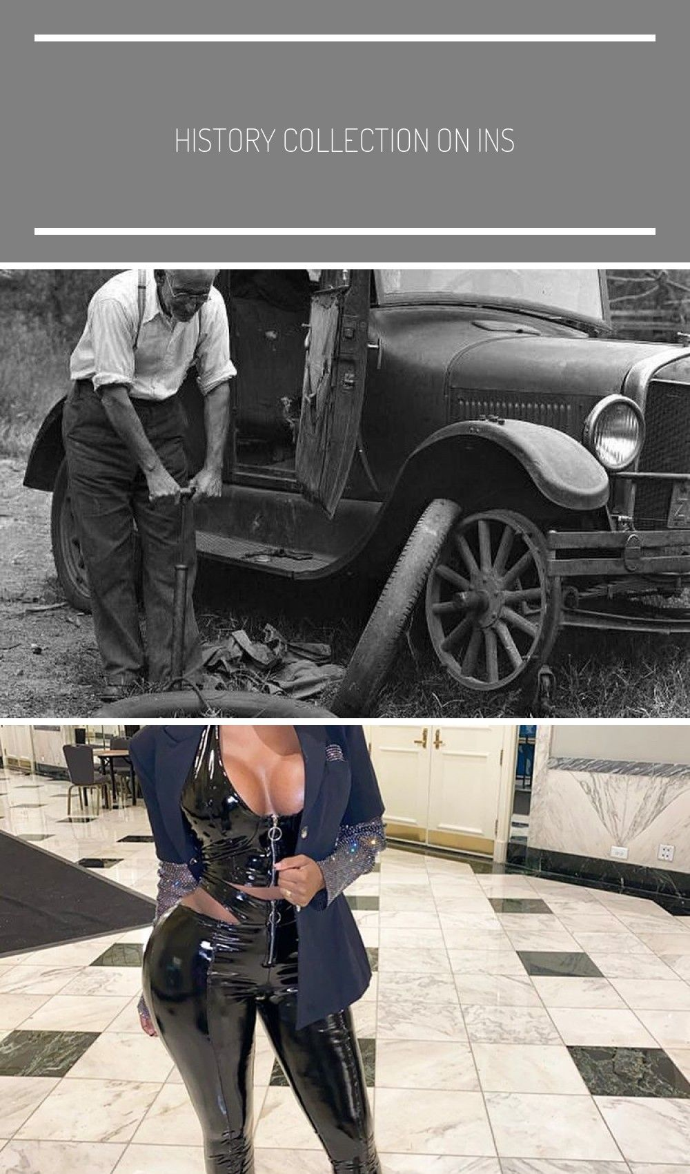 "History Collection on Instagram: ""A man changes a tire on his Model T Coupe, 1927. Follow @histor"