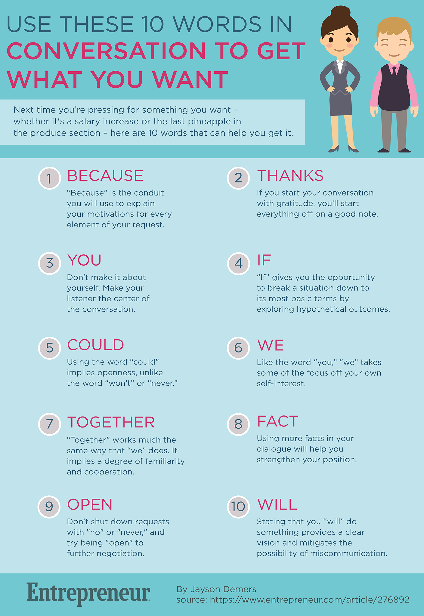 use these 10 words in conversation to get what you want