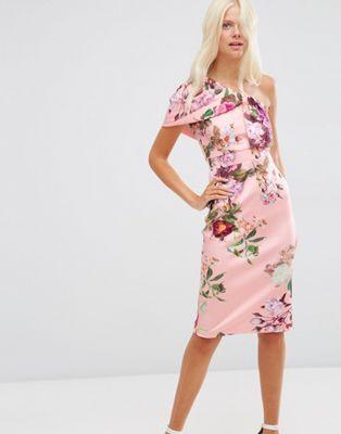 Vestido a media pierna de neopreno con escote asimétrico, estampado floral  y pliegue de ASOS at asos.com