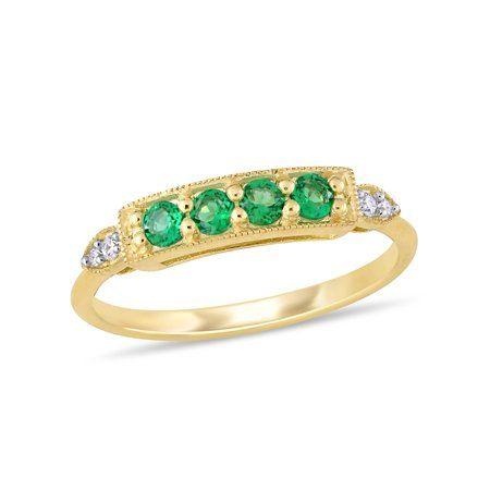 Tangelo - Tangelo 1/8 Carat T.G.W. Created Emerald and Diamond-Accent 10k Yellow Gold Promise Ring - Walmart.com