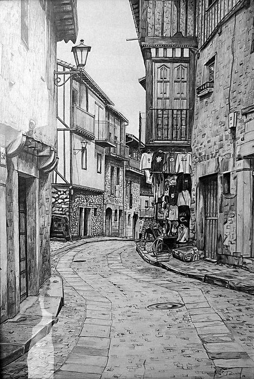 Calle De La Alberca Carboncillo Paisaje Arte En Perspectiva Dibujos De Edificios