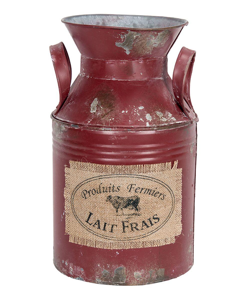 Red Lait Frais Milk Canister Zulily Lait Frais Bidons De Lait Pots De Lait