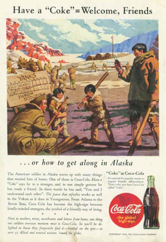 American Soldier In Alaska Coca Cola Ad 1943 COCA COLA