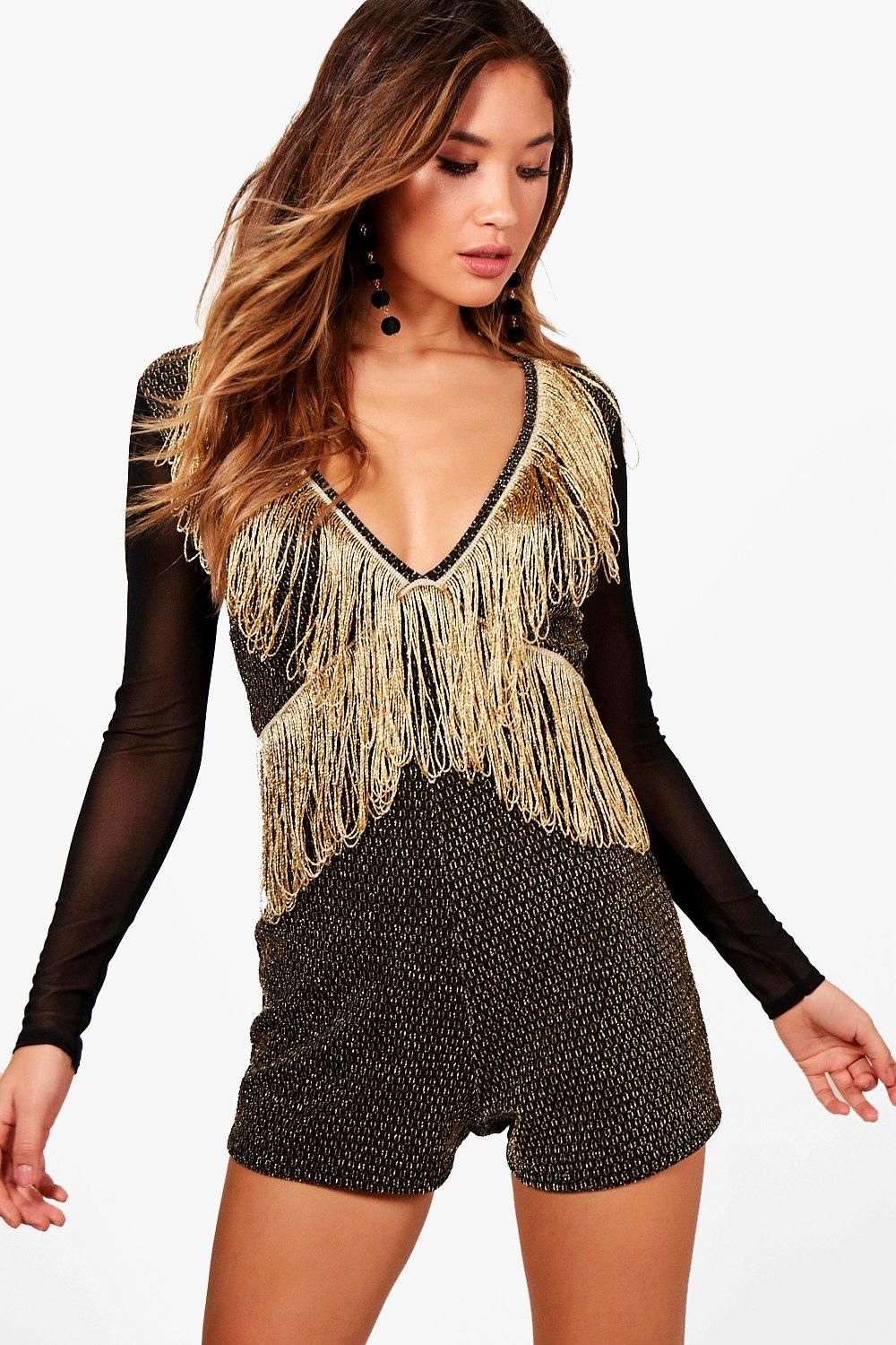 673c94f2 Click here to find out about the Tassel Trim Statement Playsuit from  Boohoo, part of our latest Sale Playsuits & Jumpsuits collection ready to  shop online ...