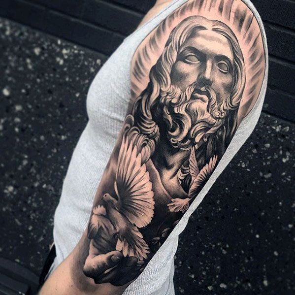 Dove Tattoos Half Sleeve Cool Male Jesus And Do...