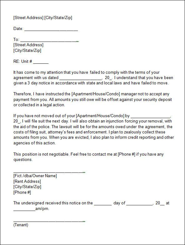 sle eviction notice template 12 free documents in I might need - basic rental agreement letter template