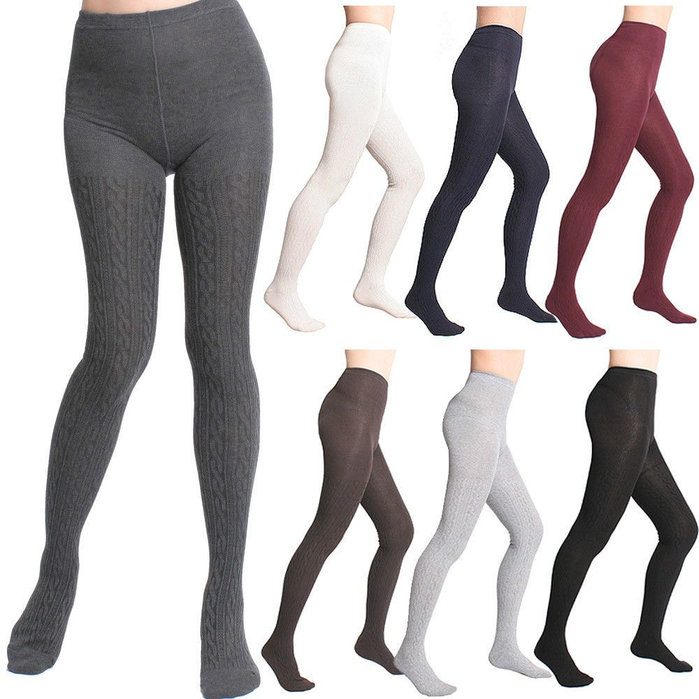 69df253ebfb5c Love the cable knit. I need cream. Size XS-M. Women Winter Thick Warm Twist Cable  Knit Sweater Footed Cotton Full Foot Tights #stylegaga #Tights