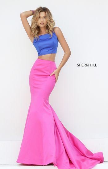 Sherri Hill 50466 Two Tone Royal Fuchsia Prom Gown 2016