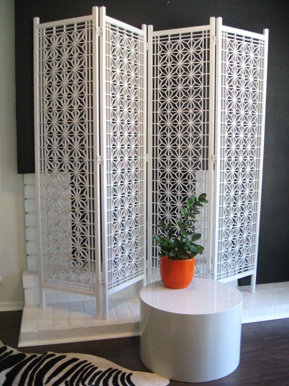 S danish modern white vintage screen or room divider screens