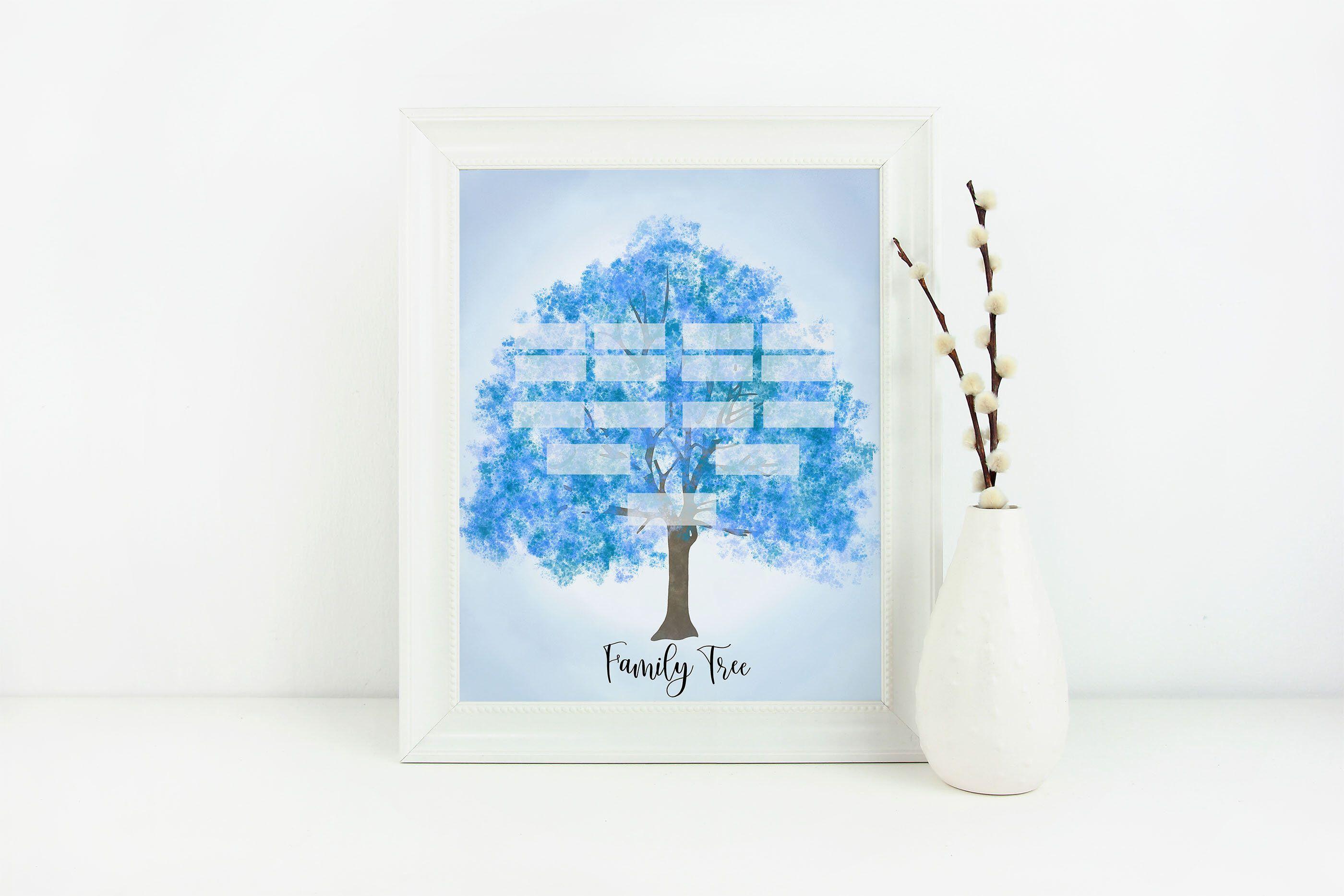 Blue Family Tree Family Tree Genealogy Family Tree Art