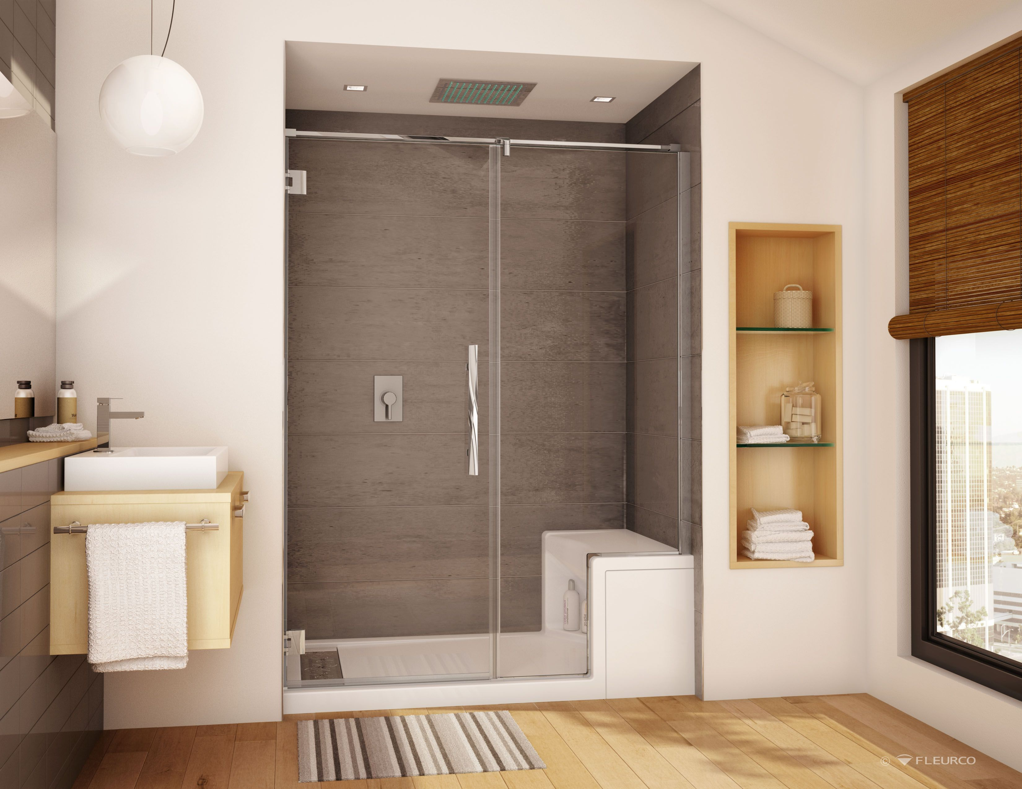 Stylish Wall Mount Hinge Shower Door And Panel With Shower