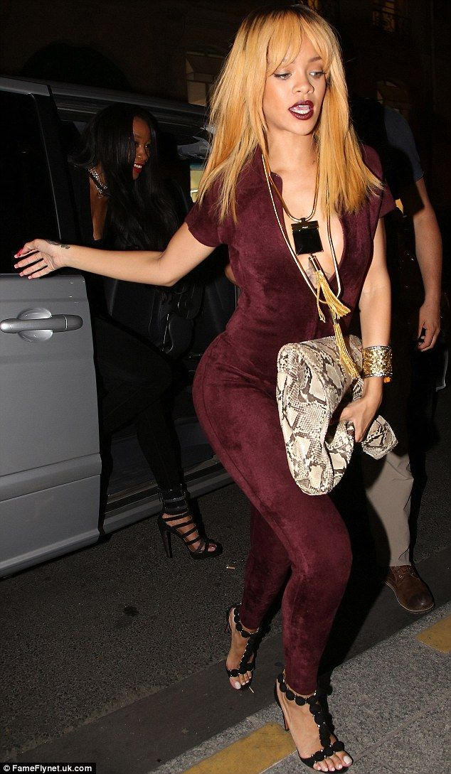 Moulin Rouge Rude Girl Rihanna Steps Out In Paris In A Deep Red Skintight Catsuit Unzipped To