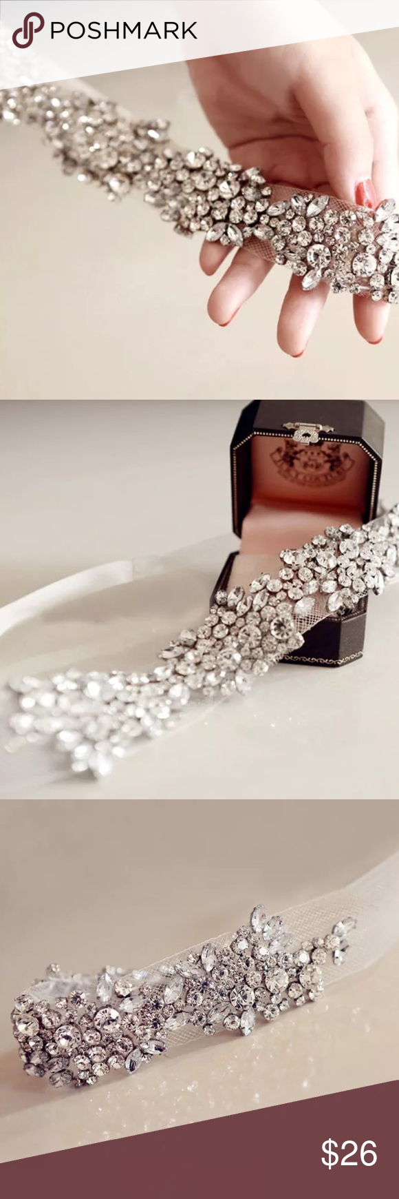 """Stunning Crystal on Tulle Tie Headband This piece is breathtaking. I found it for my friends wedding for a boho chic look - just before the ceremony she asked if she could wear it as her """"something borrowed"""". Purchased another to keep and two more for Posh. Grab this.... New in gift pouch. Accessories Hair Accessories"""