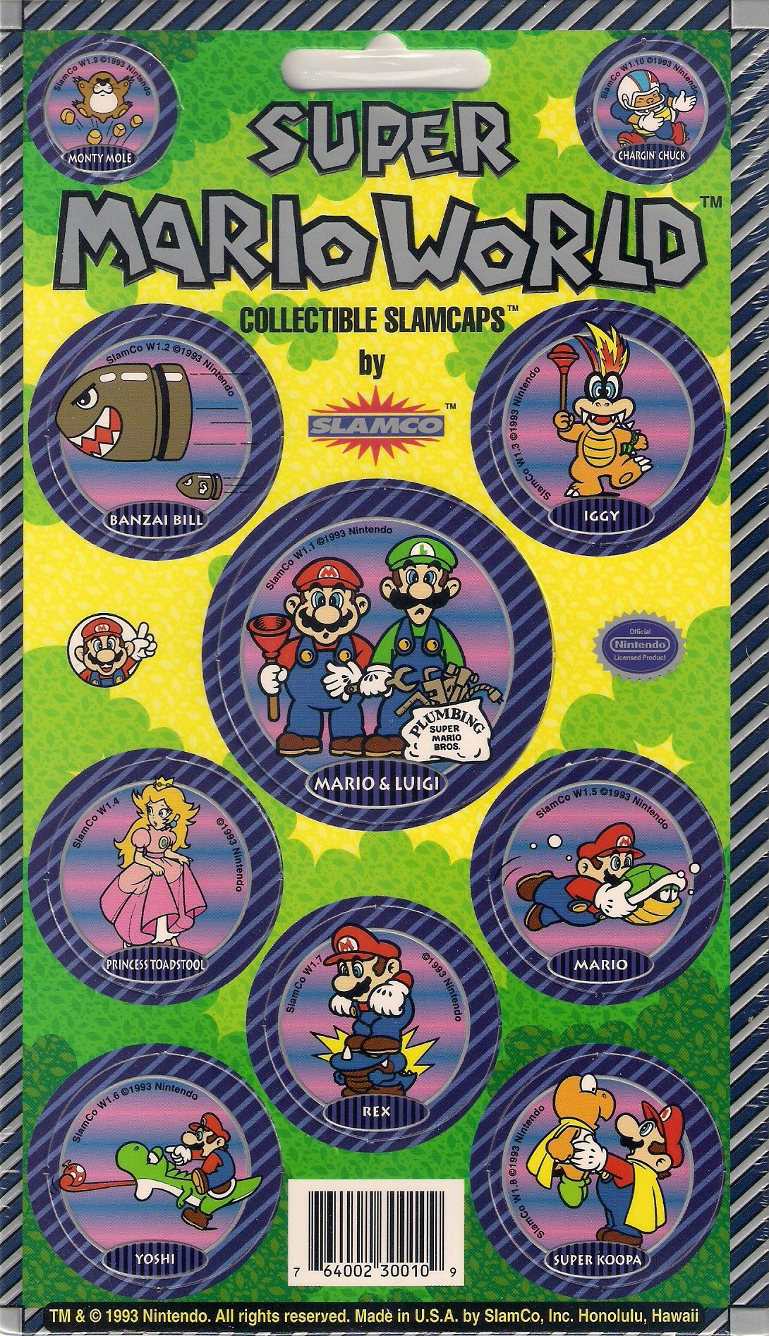 Super Mario World Set of 10 Pogs Card 1 of 4 (With images