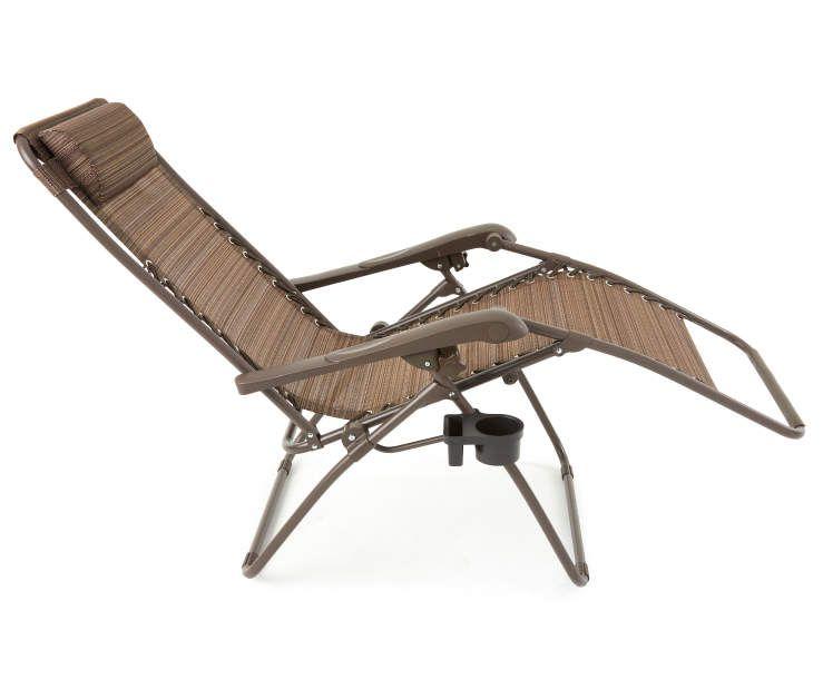 Wilson Fisher Brown Sling Reclining Zero Gravity Chair Zero Gravity Chair Chair Fabric Seat