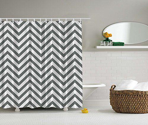 Designeru0027s Collection Digital Graphic Print Chevron Grey Shower Curtain Set  Non Vinyl Bath Waterproof Fabric Resistant