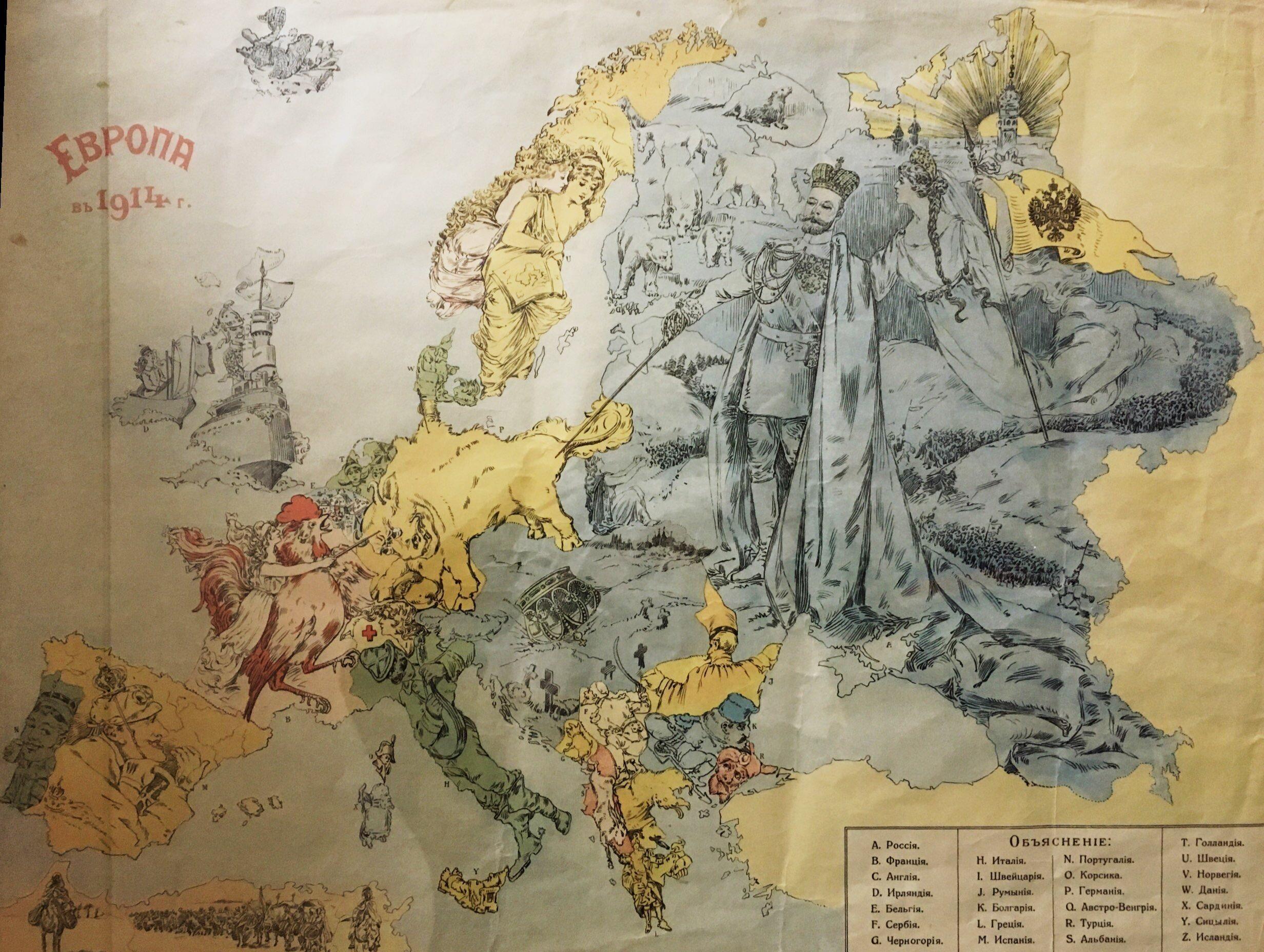 Propaganda map in 1914 Russian empire