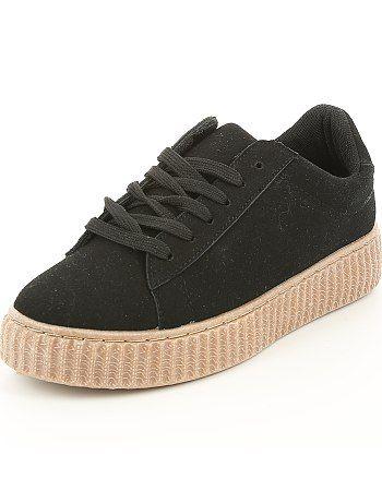 Lage suèdine sneakers met sleehakken zwart Dameskleding   Sneakers ...