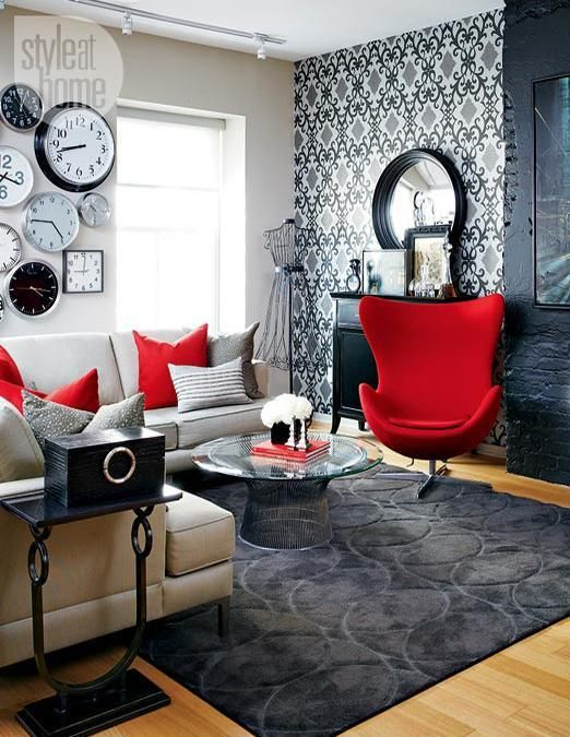 Black and White Rooms with Red Accents Brighten Up Loft in Toronto Love the  Clock idea.