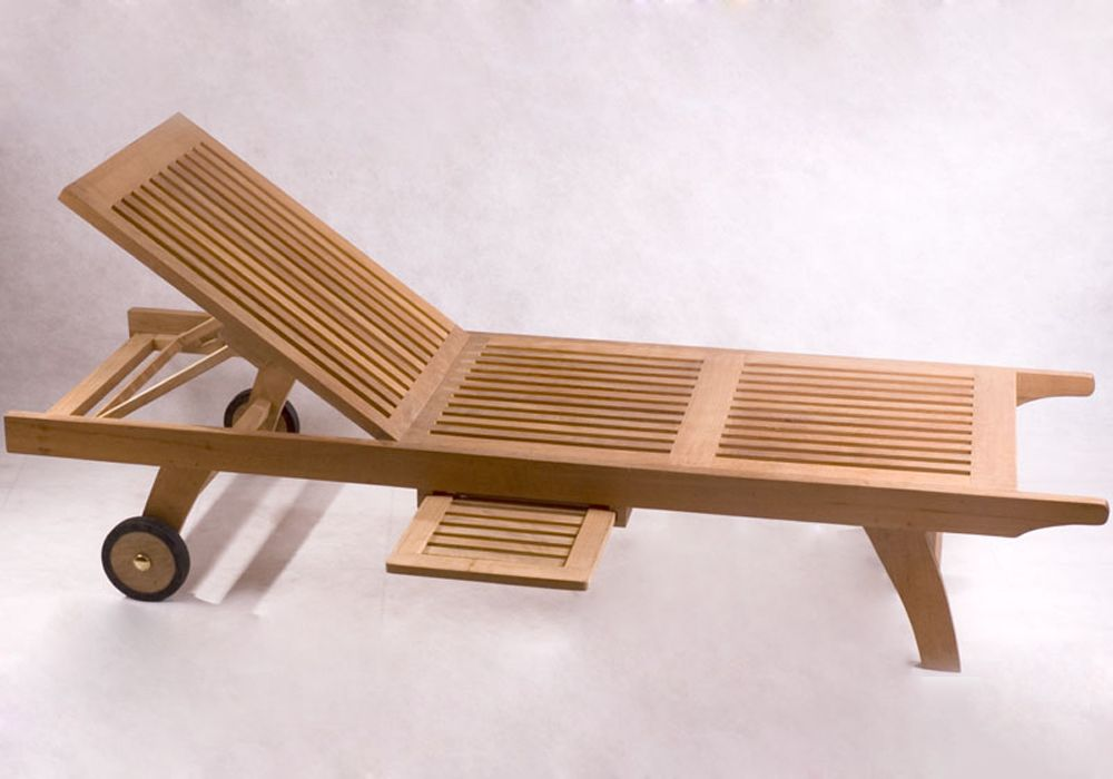 Teak Outdoor Chaise Lounge Chair With Wheel Back