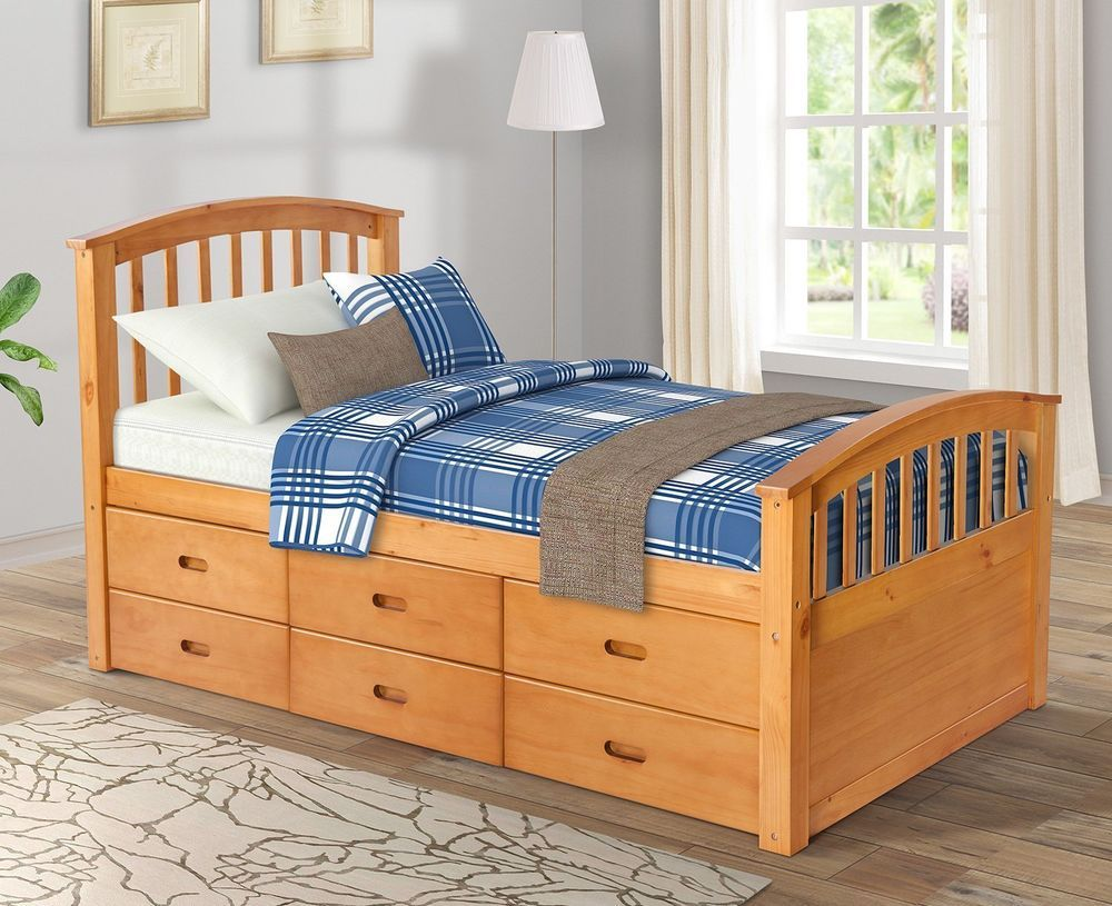 Kids Teens Storage Bed Complete Twin Platform Solid Wood 6