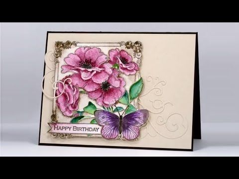 Collage of wishes by Heather Telford-YouTube-Video:21:05min A watercolor tutorial using the Penny Black stamp, 'Collage of Wishes' and Kuretake Gansai Tambi watercolor paints.