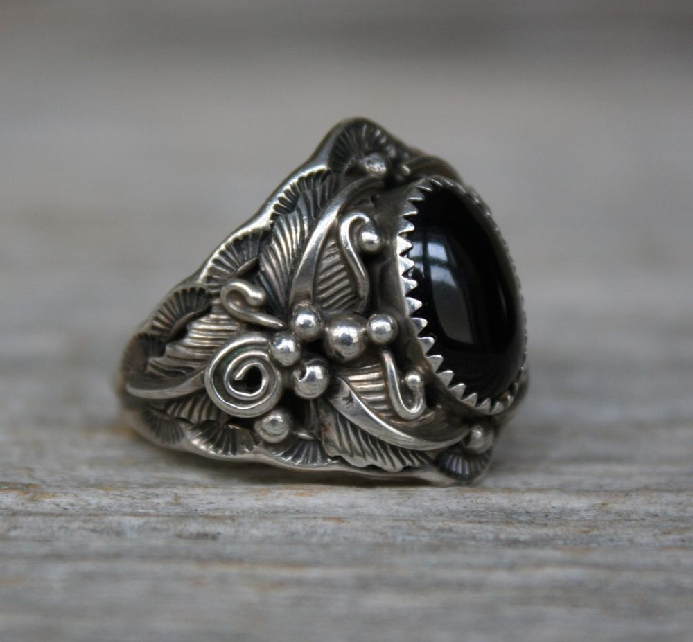 Vintage Navajo Native American Black Onyx Sterling Silver Men's Ring 12