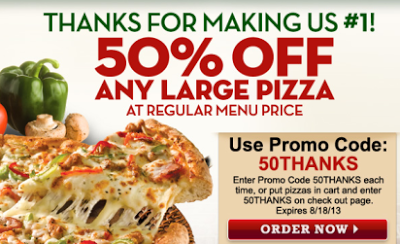 photograph relating to Papa Murphy's $3 Off Printable Coupon named Papa Johns- Attain 50% Off a Heavy Pizza w/ On-line Promo Code