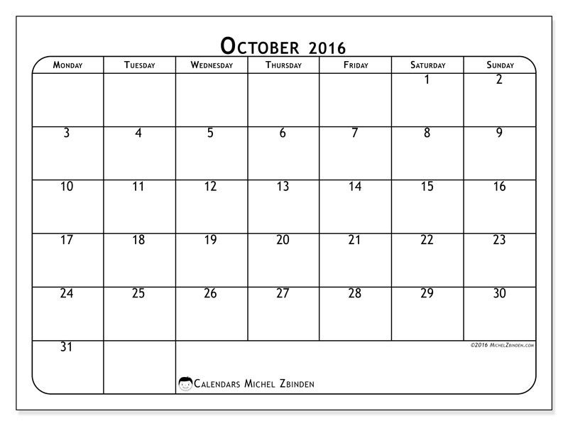 Free! Calendars for October 2016 to print (With images