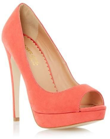 Head Over Heels Ladies CABRILLA - CORAL Peep Toe Platform Stiletto Heel Court Shoe