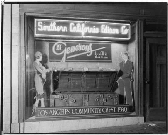 So. Cal. Edison display window, 1930 Los Angeles Community Chest campaign. From the SCE collection at the Huntington.  http://hdl.huntington.org/cdm/singleitem/collection/p16003coll2/id/26521/rec/46
