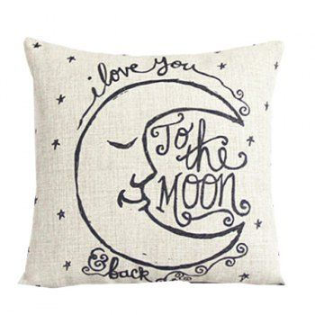 Home Decor Moon Letter Pattern Cushion Linen Pillow Case Linen