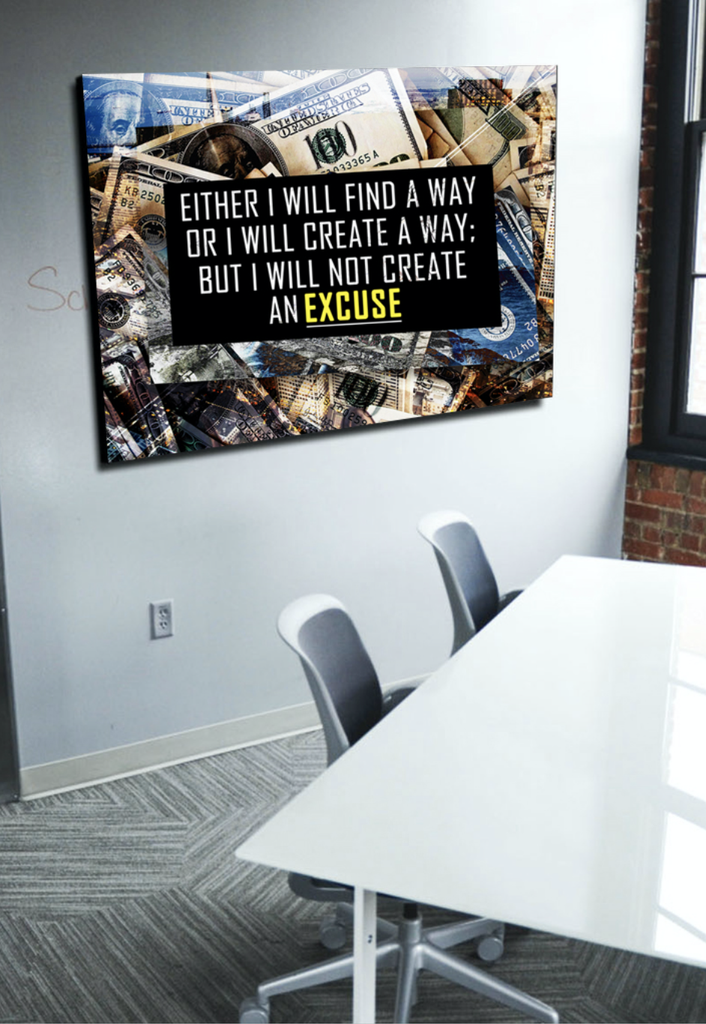 Business Wall Art: NO EXCUSES Canvas (Wood Frame Ready To Hang ...