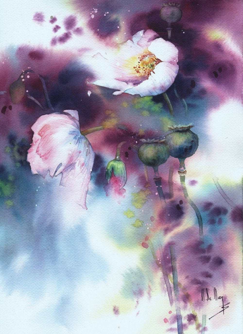 Galerie D Aquarelles Maryse De May Flower Painting Floral
