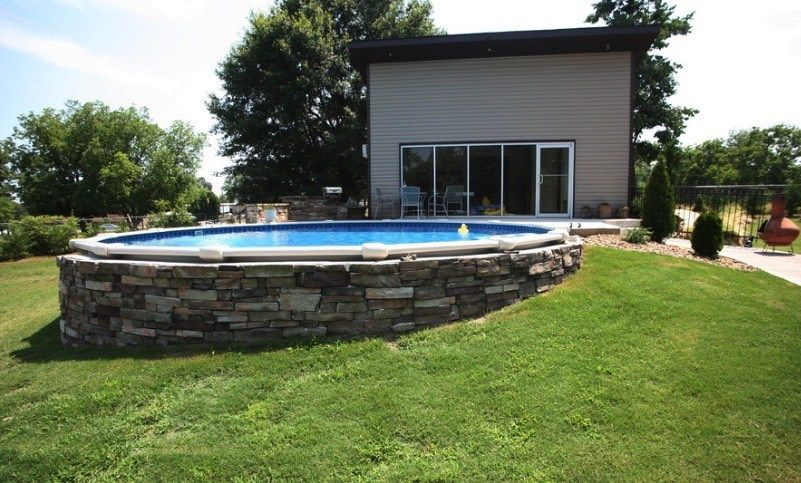 Semi Underground Pools Best Above Ground Pool Backyard Pool Backyard Pool Landscaping